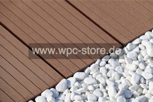 Großartig WPC Terrassendielen Komplettset Dunkelbraun weit geriffelt  XL98