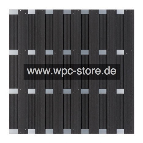 wpc zaun anthrazit mit 4 aluminium querprofilen 180x180cm wpc store. Black Bedroom Furniture Sets. Home Design Ideas
