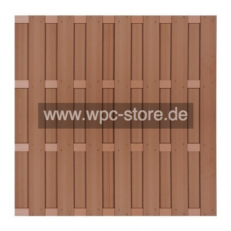 Wpc Zaun Braun Mit 4 Braunen Aluminium Querprofilen 180x180cm