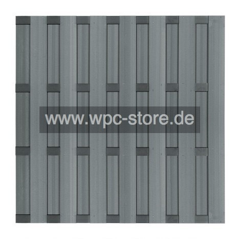 wpc zaun grau mit 4 aluminium anthrazit querprofilen 180x180cm wpc store. Black Bedroom Furniture Sets. Home Design Ideas