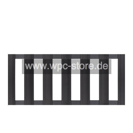 wpc zaun anthrazit mit 2 aluminium anthrazit querprofilen 180x75cm wpc store. Black Bedroom Furniture Sets. Home Design Ideas